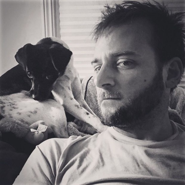 Evan's Selfie with his pet dog
