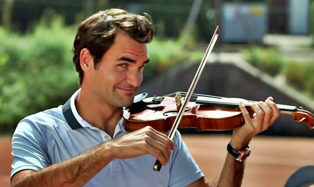 Federer playing violin