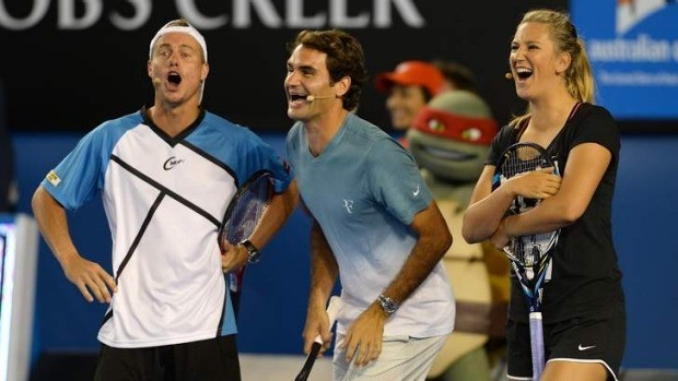 Lleyton Hewitt, Roger Federer and Victoria Azarenka share a laugh at Melbourne Park