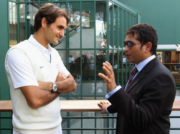 Roger Federer with Indian Cricket Legend Sachin Tendulkar