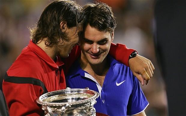 Nadal and Federer during