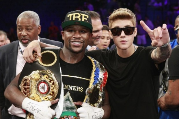 Justin Bieber with Flyod Mayweather