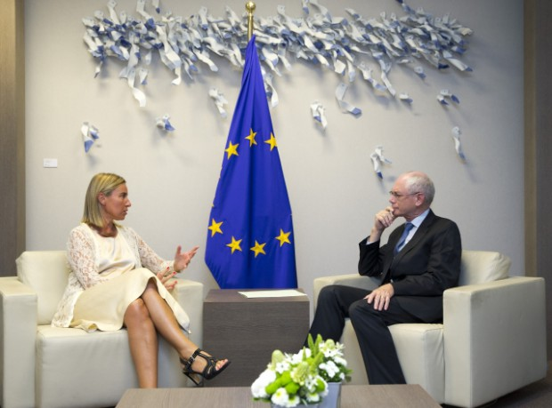 Federica Mogherini with Italian Minister for Foreign Affairs Van Rompuy