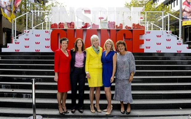 Gail Kelly With Dr Julia Newton-Howes,Tracey Spicer and  Evonne Goolagong-Cawley