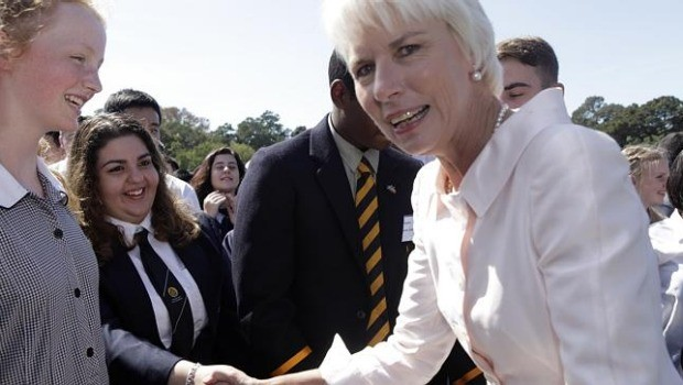 Gail Kelly speaks with students from Abbotsleigh High School at the launch of Westpac's initiative