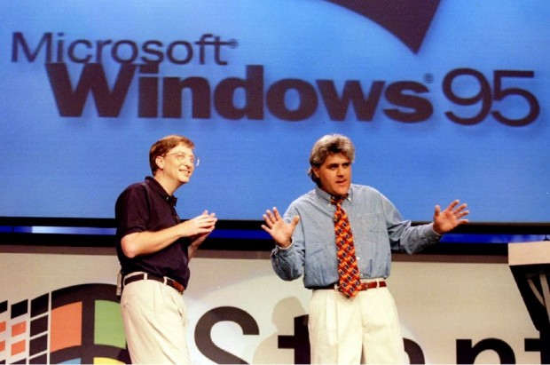 Bill Gates with Jay Leno at the Windows 95 launch