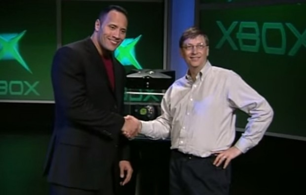 Gates with Dwayne Johnson at Xbox launch