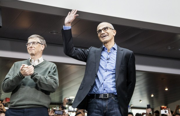Satya Nadella, Microsoft CEO with Bill Gates