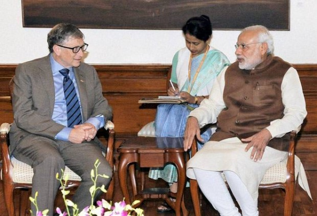 Indian Prime Minister Narendra Modi with Bill Gates
