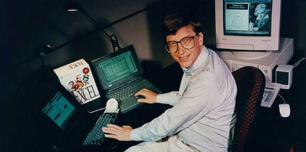 Bill Gates working on MS Excel