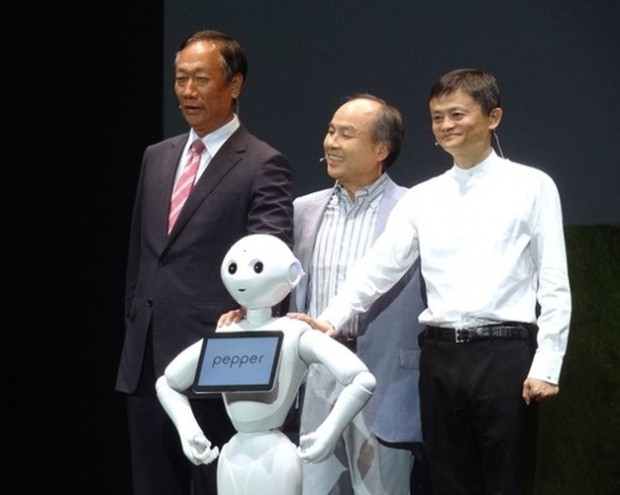 Hon Hai Founder Terry Gou with SoftBank CEO Masayoshi Son and Alibaba Group Co-Founder Jack Ma