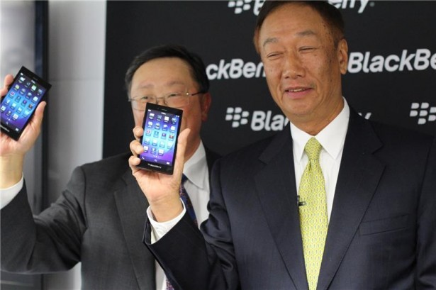 Terry Gou with BlackBerry CEO John Chen