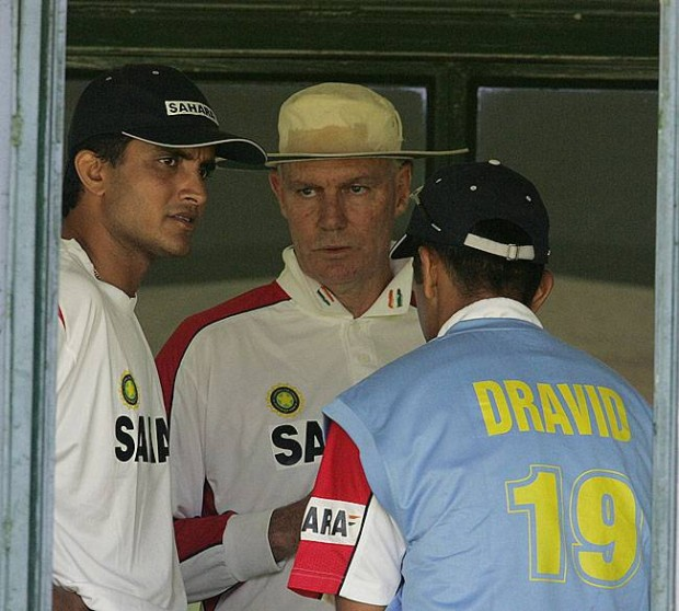 Rahul with Sourav and Greg Chappell