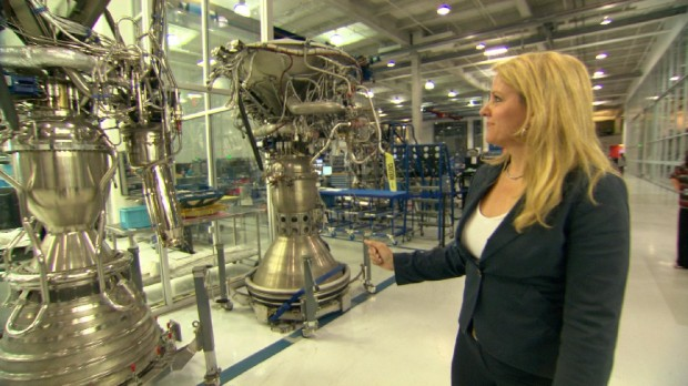 Gwynne Shotwell President and COO of SpaceX, Shows off Rocket Engines