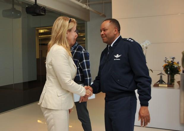 Gwynne Shotwell and U. S. Air Force Lt. Gen. Sam Greaves