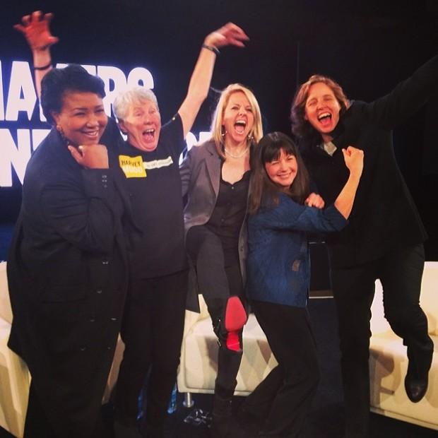 Gwynne Shotwell With Mae Jeminson,Maria Klawe,Cady Coleman and Megan Smith