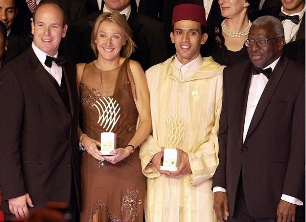 Hicham El Guerrouj with Diack, Prince Albert of Monaco, Britain's Paula Radcliffe