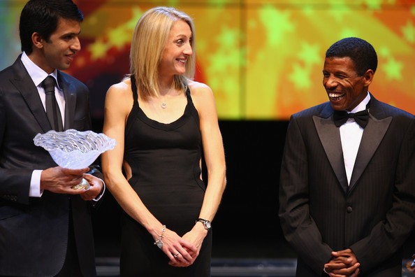 Hicham El Guerrouj with Paula Radcliffe and Haile Gebrselassie