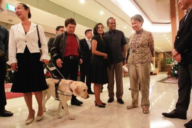Executive director and CEO of Temasek Holdings Ho Ching, Minister for Law K Shanmugam, Mrs Shanmugam, Chairman of the Guide Dogs Association of the Blind Dr Francis Seow