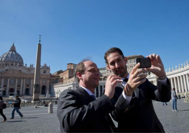 Kevin taking Selfie in front of St. Peter's Square at the Vatican