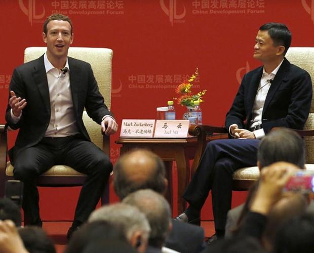 Facebook Founder Mark Zuckerberg with Jack Ma
