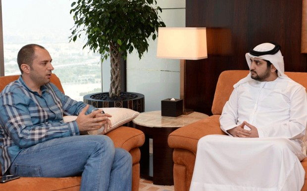 Jan Koum with Depurty Ruler of Dubai, Sheikh Maktoum bin Mohammed bin Rashid Al Maktoum