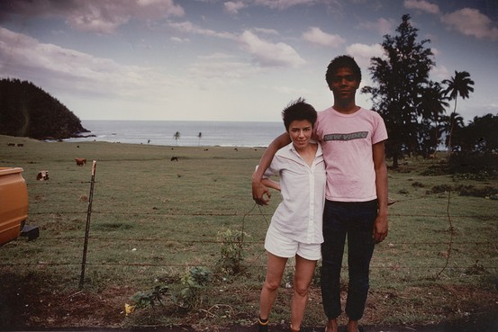 Paige Powell with Jean-Michel Basquiat in Hawaii