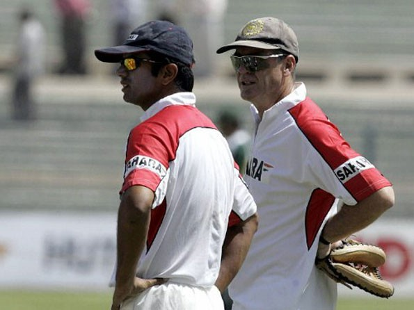 Dravid with India's Former Coach John Wright
