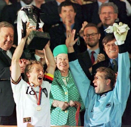 Jurgen lift Euro 96 trophy presented by Queen Elizabeth