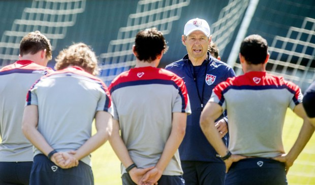 Jurgen Klinsmann speaks to players at Stanford