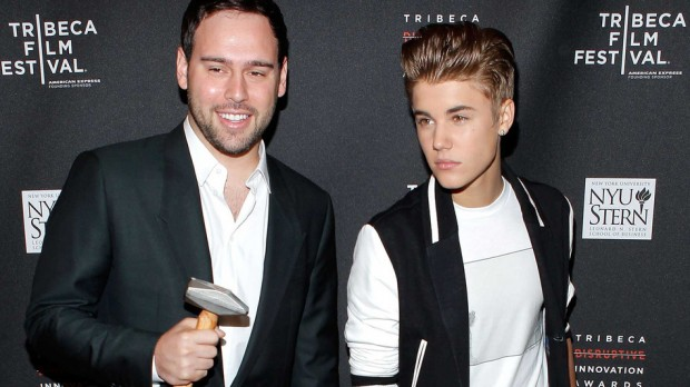 Justin Bieber with His Manager Scooter Braun