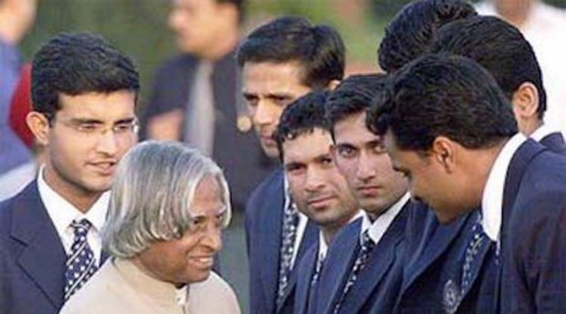 Kalam with Indian Cricketers Sachin, Dravid, Sourav, Agarkar, Srinath and Others