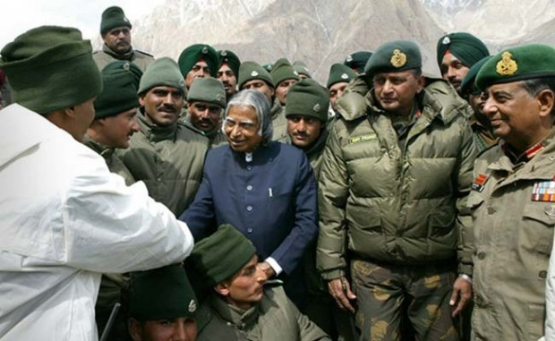 Abdul Kalam with Indian Soldiers at Siachen