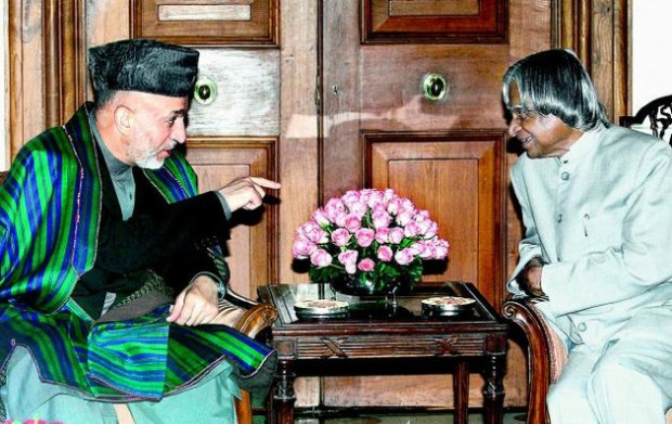 Hamid Karzai, President of the Islamic Republic of Afghanistan with Abdul Kalam