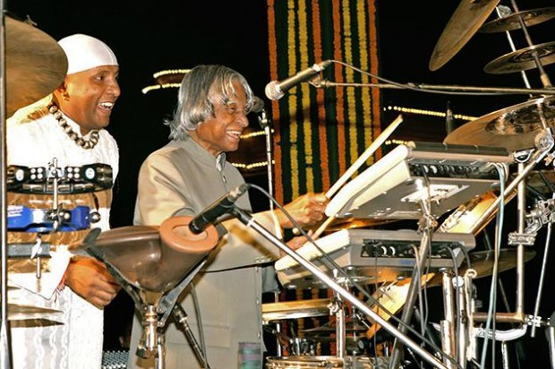 Abdul Kalam playing drums along with Shivamani