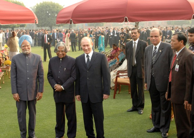 Russian President  Mr. Vladimir V. Putin with Abdul Kalam and Manmohan Singh