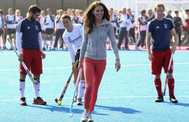 Kate Middleton playing hockey against Team GB
