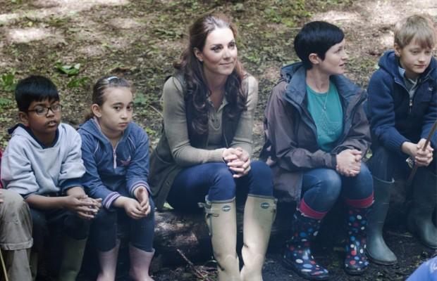 Kate Middleton relaxed by a campfire with children from Expanding Horizons primary school