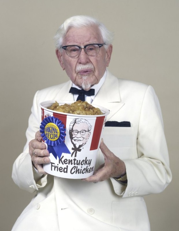 Colonel Sanders with KFC Bucket