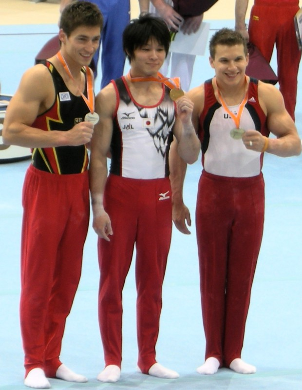 Kohei Uchimura with Philipp Boy and Jonathan Horton