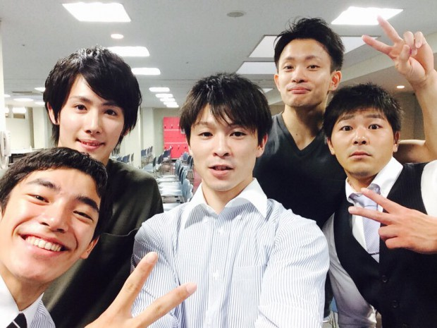 Kohei and teammates during their farewell party for Rio