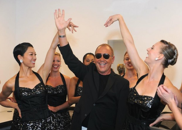 Michael Kors Posing with Models at Fashion's Night Out