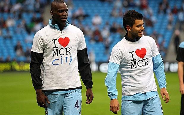 Mario Balotelli and Sergio Aguero wears I Love MCR T-Shirts