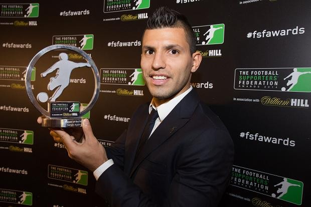 Sergio Aguero with FSF Player of the year Award