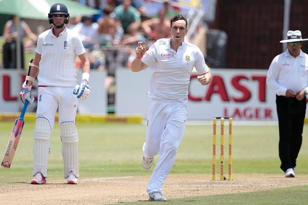Kyle Abbott celebrates the dismissal of Jonny Bairstow