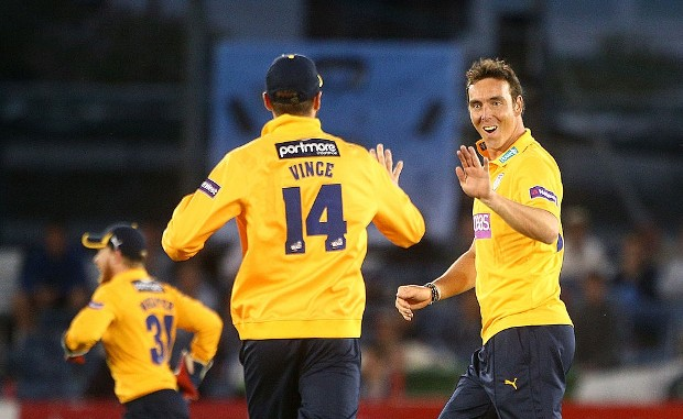 Kyle Abbott celebrates After Takin Wicket of Luke Wright