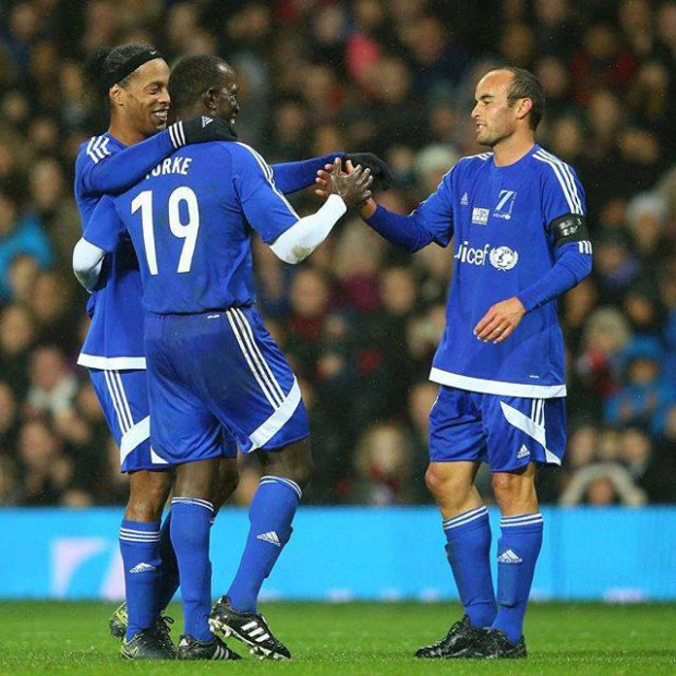 Ronaldinho, Dwight Yorke and Landon Donovan for a charity match by UINICEF