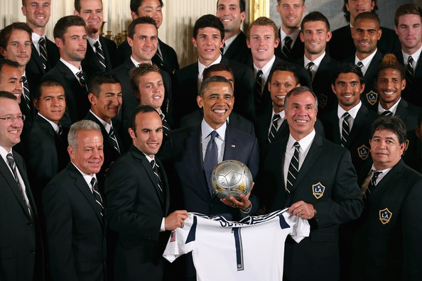 Landon with Obama along with LA Kings and LA Galaxy Squad