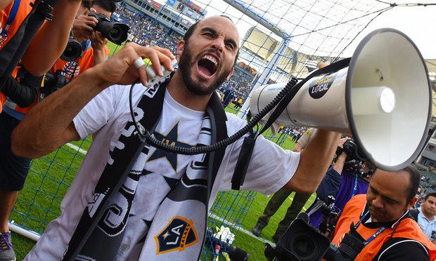 Landon Donovan celebrates his win in the 2014 Parkers