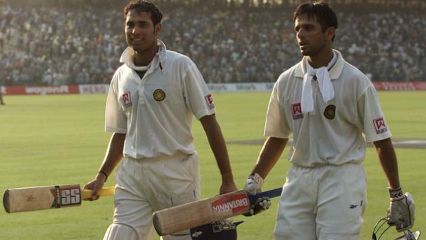 Dravid And Laxman during The Historic Test Match at Eden Gardens